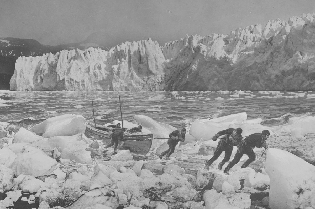 Painting of the landing of the James Caird on South Georgia island, during Ernest Shackleton's heroic journey to save the crew of the Endurance. One of the most amazing rescues of all time.